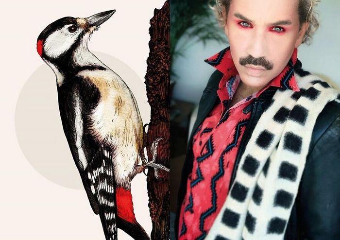 Eu crio estes looks de moda e maquiagem inspirados nos pássaros que desenho 7