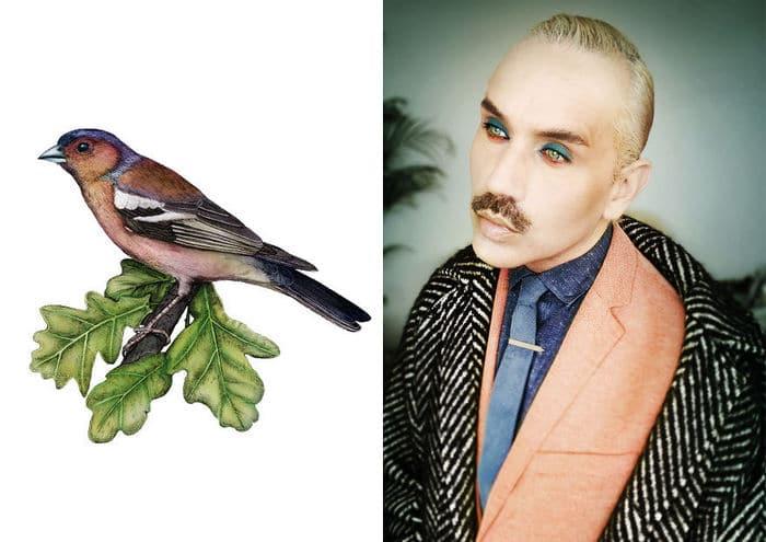 Eu crio estes looks de moda e maquiagem inspirados nos pássaros que desenho 10