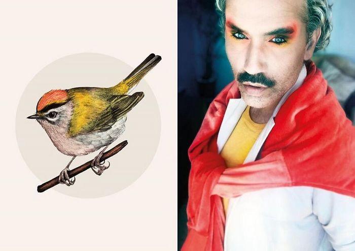 Eu crio estes looks de moda e maquiagem inspirados nos pássaros que desenho 12