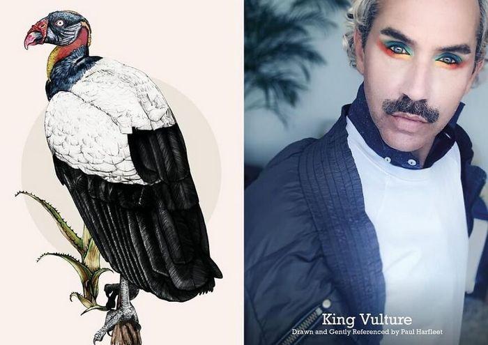 Eu crio estes looks de moda e maquiagem inspirados nos pássaros que desenho 16