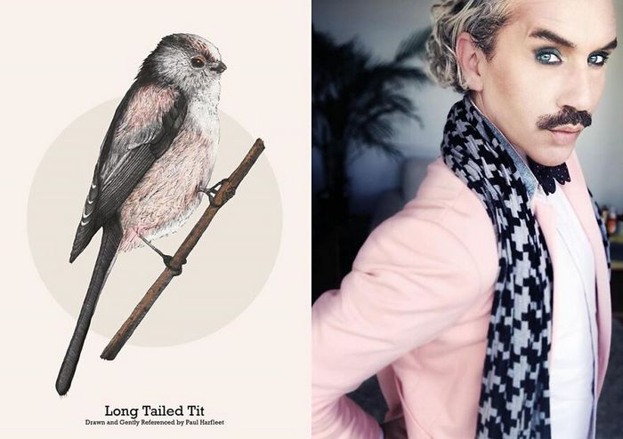 Eu crio estes looks de moda e maquiagem inspirados nos pássaros que desenho 20