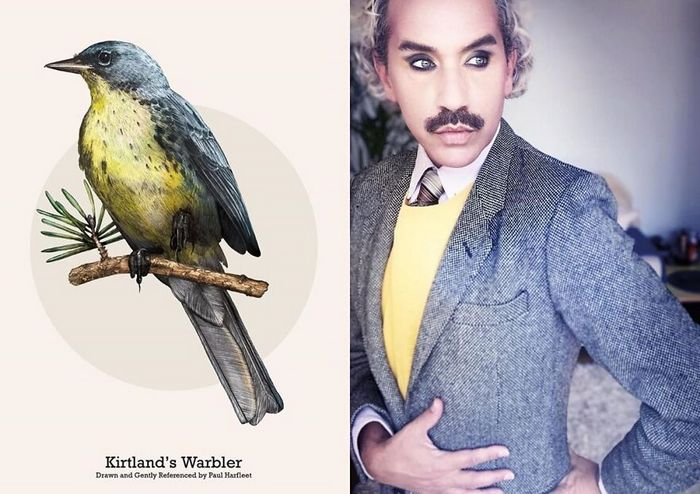 Eu crio estes looks de moda e maquiagem inspirados nos pássaros que desenho 24