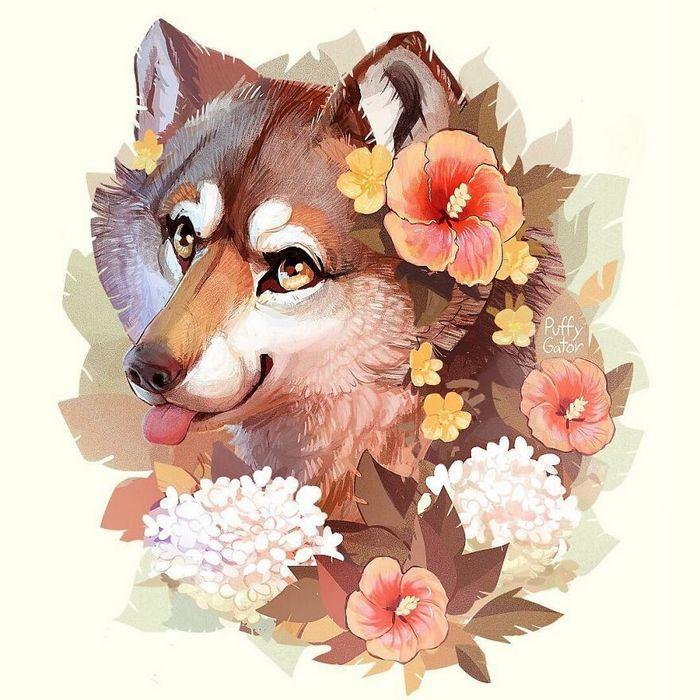 Artista cria ilustrações fofas de animais selvagens e animais de estimação 22