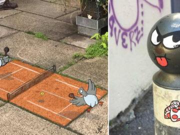 Artista francês espalha humor em espaços urbanos por meio de sua arte 16
