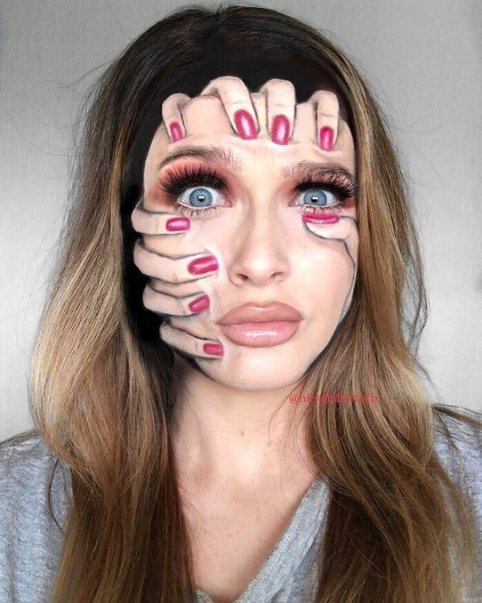 Artista de maquiagem se transforma em qualquer celebridade ou ilusão de ótica que ela deseja 4