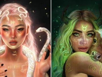 Artista imagina como seriam os signos, planetas e elementos do zodíaco chinês como pessoas 3