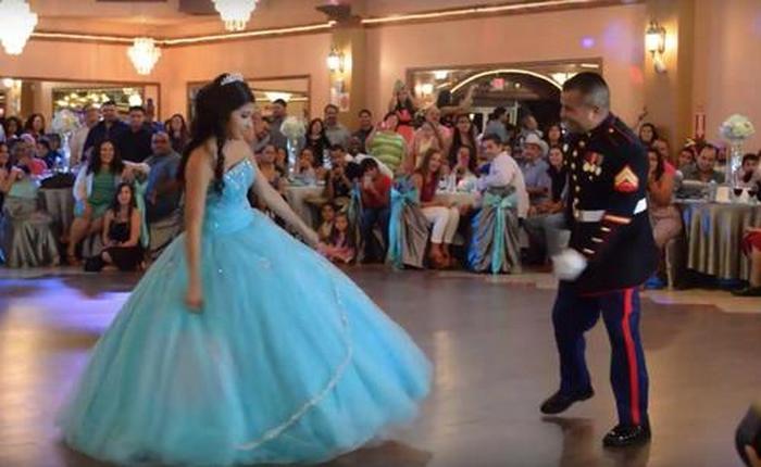 Incrível apresentação de dança pai e filha que impressiona os convidados 4