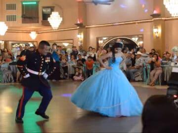 Incrível apresentação de dança pai e filha que impressiona os convidados 2