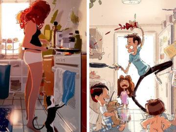 Marido retrata a vida cotidiana com sua esposa e filhos em 54 novas ilustrações comoventes 6