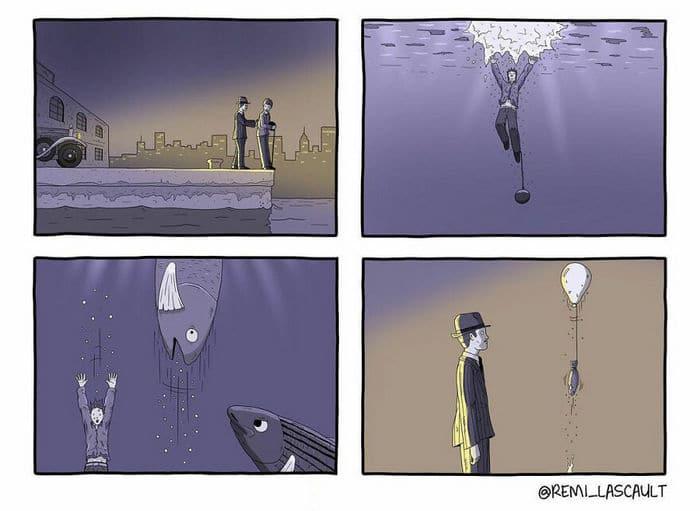 28 quadrinhos absurdos com finais muito sombrios, de Rémi Lascault 20