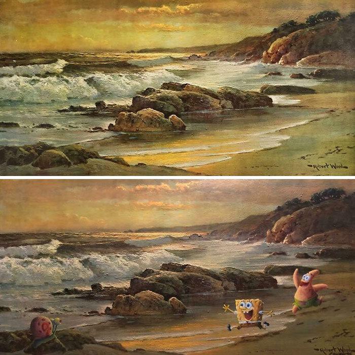 34 vezes que artistas repintou pinturas de brechós com seus pincéis 2