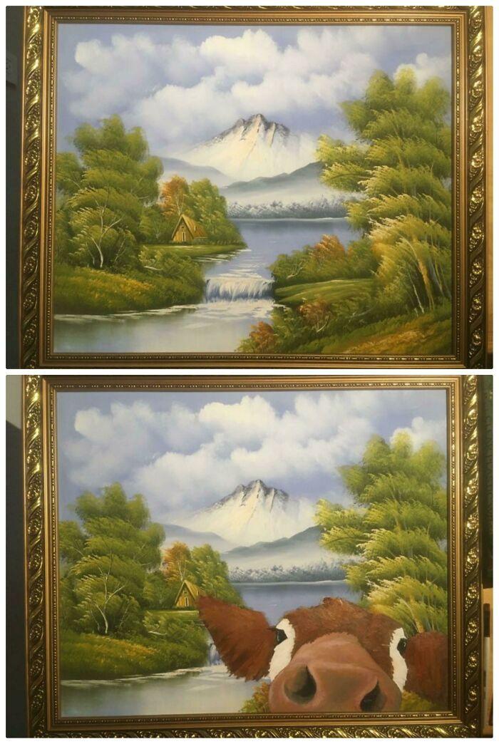 34 vezes que artistas repintou pinturas de brechós com seus pincéis 16