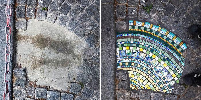 Artista conserta calçadas, buracos e edifícios rachados usando mosaicos vibrantes (30 fotos) 3