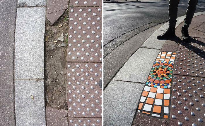 Artista conserta calçadas, buracos e edifícios rachados usando mosaicos vibrantes (30 fotos) 6