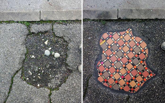 Artista conserta calçadas, buracos e edifícios rachados usando mosaicos vibrantes (30 fotos) 10