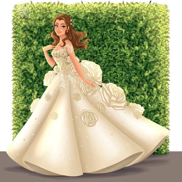 Artista cria vestidos de noiva modernos para princesas da Disney 3