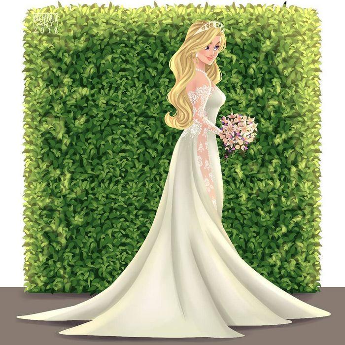 Artista cria vestidos de noiva modernos para princesas da Disney 9
