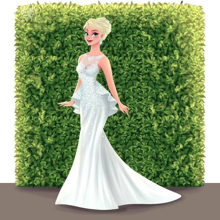 Artista cria vestidos de noiva modernos para princesas da Disney 14