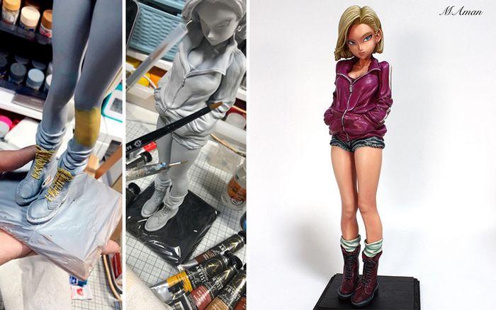 Artista transforma estatuetas em esculturas ultra realistas de personagens de anime (38 fotos) 13