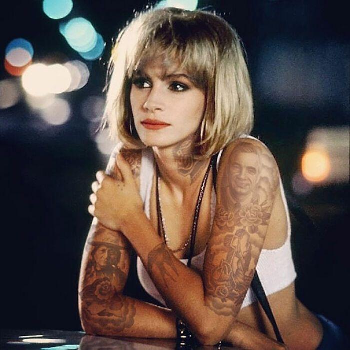 Qual seria a aparência de 48 celebridades se tivessem tatuagens legais 9