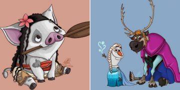 Artista desenha os ajudantes das princesas como protagonista (10 fotos) 47