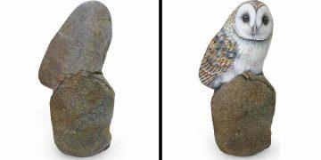 Artista transforma pedras em pinturas incríveis de animais (30 fotos) 26