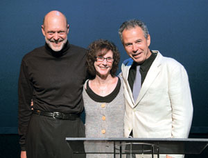 "From left,Tom Hinshawwill read David Rakoff's""ln New England Everyone Calls You Dave,"" executive director Maggie Mixsell and Robert Lesser, who will read Paul Rudnick's""Good Enough to Eat"