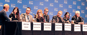 "Joining the producers' panel are, from left, John Horn, moderator; Robbie Brenner, ""Dallas Buyers Club""; Dana Brunetti, ""Captain Phillips""; Dede Gardner, ""12 Years a Slave""; Joey McFarland, ""The Wolf of Wall Street""; Charles Roven, ""American Hustle""; Gaby Tana, ""Philomena""; and Ron Yerxa, ""Nebraska."""