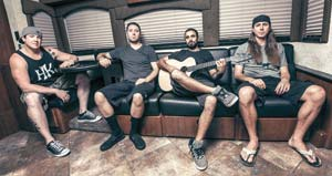 From left, Marley D. Williams (bass), Wesley Finley (drums), Eric Rachmany (vocals/guitar) and Rory Carey (keyboards) make up the band Rebelution.