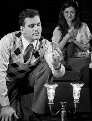 "Joel J. Gelman, left, as the ""Gentleman Caller"" and Erin Pineda as Laura."