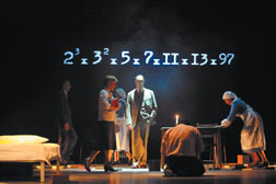 """A scene from Complicite's production of """"A Disappearing Number,"""" conceived and directed by Simon McBurney. Stephanie Berger Photos"""