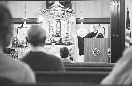 The Rev. Henry Adams gives a Dharma talk on Oct. 23 at the Buddhist Church of Santa Barbara.