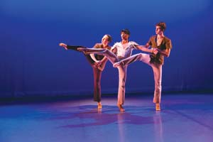 From left, Kristina Skrenek, Dante Corpuz and Mason Teichert are among the UCSB Dance Company members performing at Center Stage Theater. Steve Sherrill
