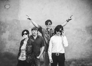 Thurston Moore, second from right, and his band, from left, Deb Googe, Steve Shelley and James Sedwards Matador Records photo