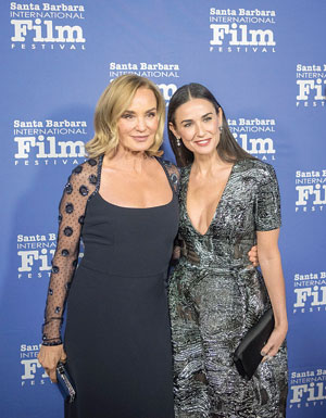 Jessica Lange poses for a photo with Demi Moore. Ms. Lange was joined by Kathy Bates and Ms. Moore for the Santa Barbara International Film Festival's ninth annual Kirk Douglas Award for Excellence in Film, which was presented to the Academy Award-winning Ms. Lange.