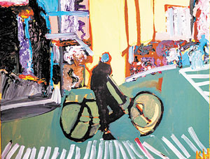 """Kevin Hosseini's painting """"busorcycle."""" CINDY CHAN PHOTO"""