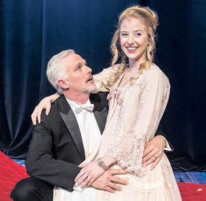 """The Ensemble Theatre Company christened the renovated New Victoria Theatre with Stephen Sondheim's """"A Little Night Music."""" Patric Cassidy, left, played Fredrik Egerman and Carly Bracco played Anne Egerman. David Bazemore photos"""