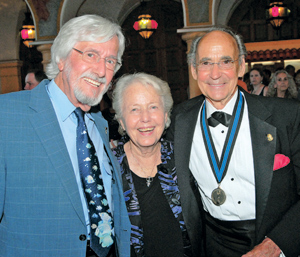 """Saturday's Santa Barbara Underwater Film Festival at the Arlington Theatre was """"A Tribute to Ernie Brooks."""" Mr. Brooks, right, is joined by friends Jean-Michel Cousteau and Virginia Sloan. THOMAS KELSEY/NEWS-PRESS PHOTO"""