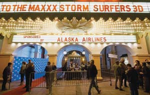 """The red carpet leads into the Arlington Theatre for Sunday's showing of """"Storm Surfers 3-D."""" NIK BLASKOVICH/NEWS-PRESS PHOTOS"""
