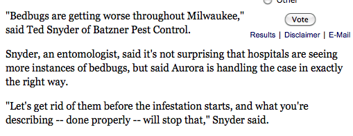 Ted Snyder, interviewed on bed bugs in Milwaukee hospitals.