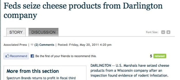 U.S. Marshals have seized cheese products from a Wisconsin company after an inspection found evidence of rodent infestation.
