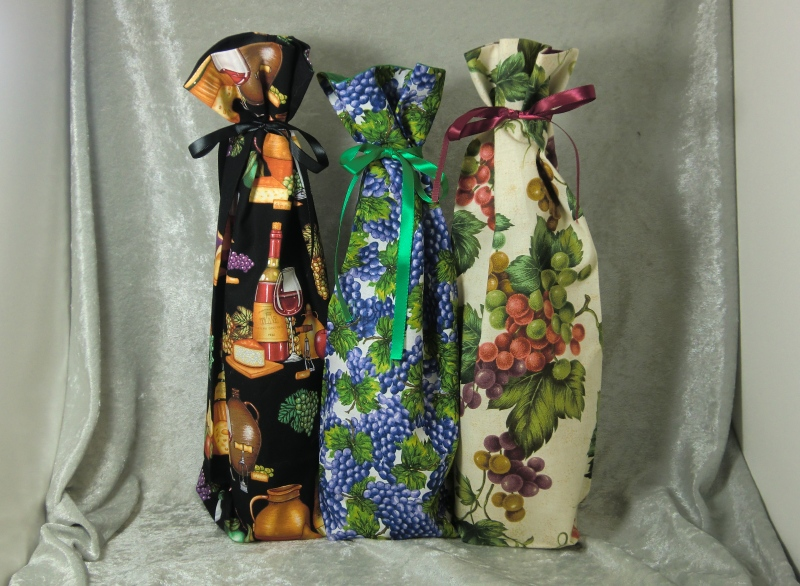 Fabric Wine Bottle Gift Bags Vineyard Theme Ted S