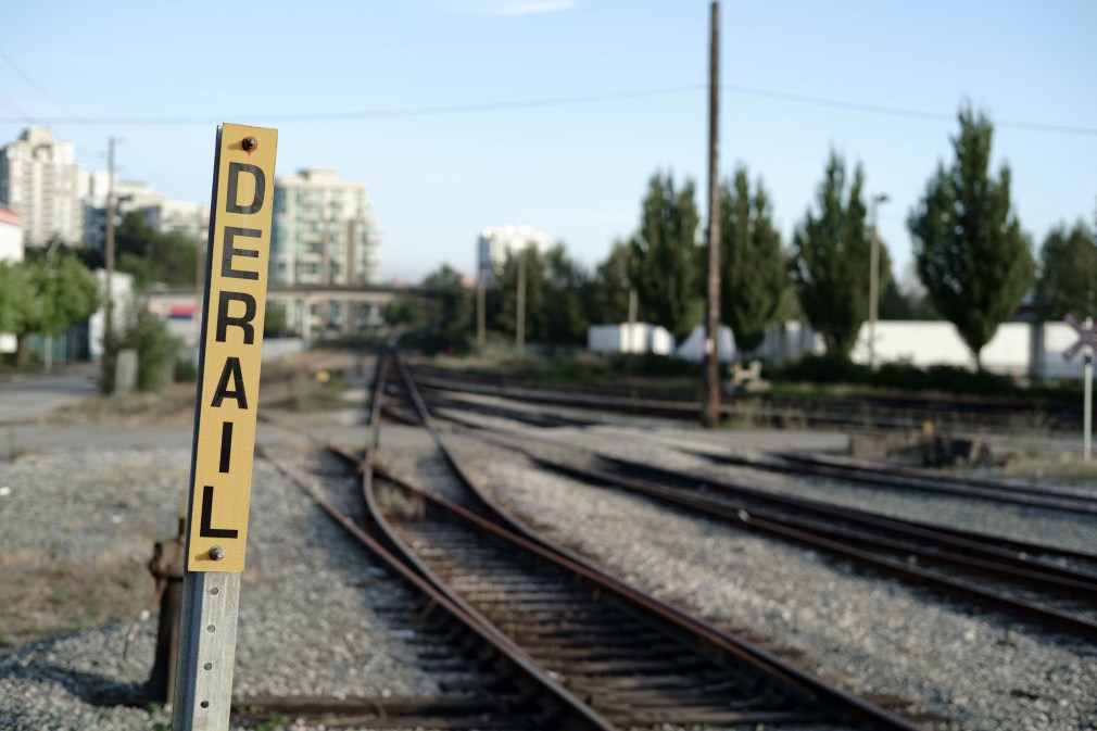 trains, signs, New Westminster, BC, Canada, derail