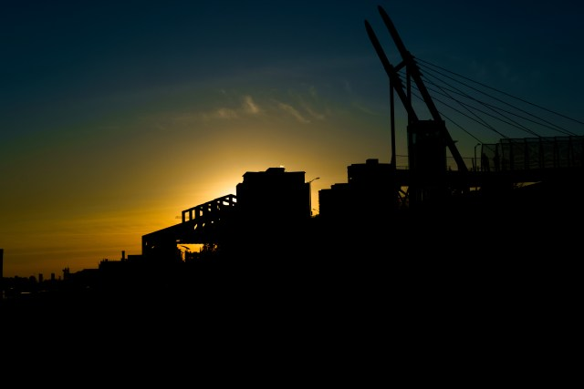 waterfront, Fraser River, New Westminster, BC, Canada, sunset, silhouette,