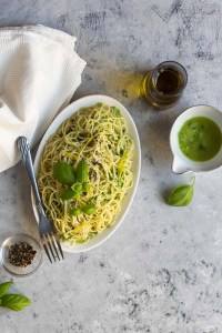 lemon basil pasta photography