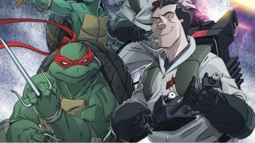 Artwork from the cover of the TMNT/Ghostbusters crossover comic series