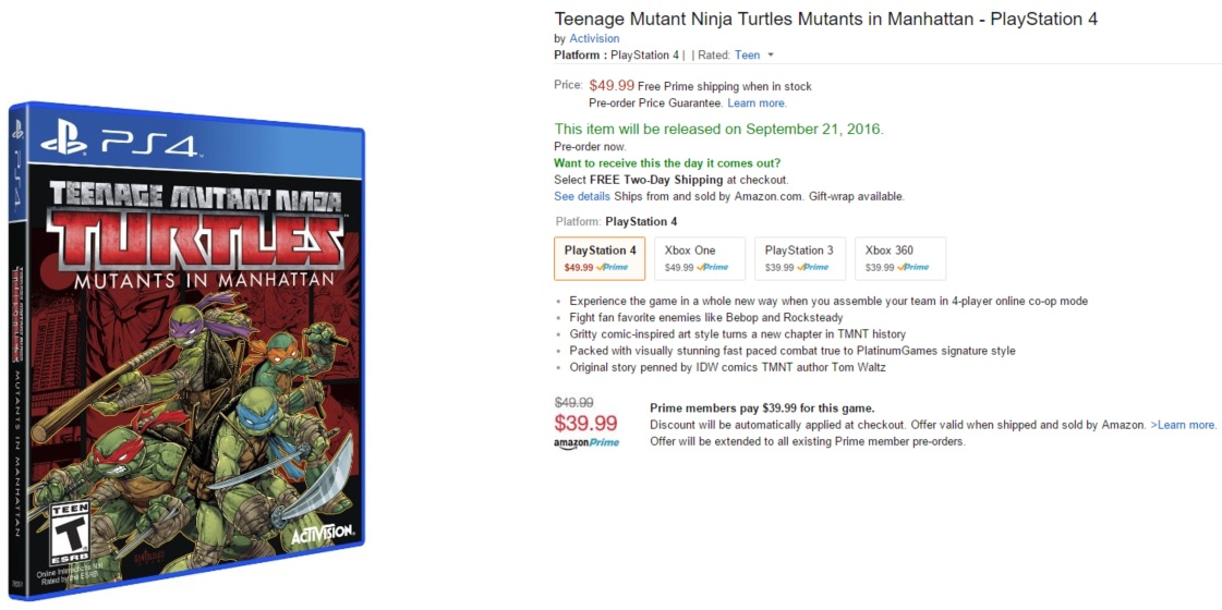 Amazon product page for Teenage Mutant Ninja Turtles: Mutants in Manhattan