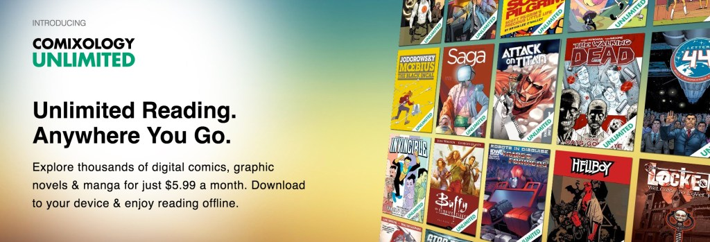 An advertisement describing the service provided by Comixology Unlimited. Source: Amazon