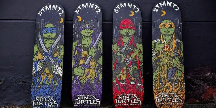 Artist Kentaro Yoshida has created four amazing Out of the Shadows skateboards. Image Source: Mashable.