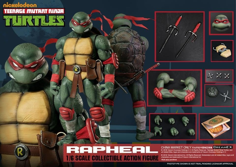 Here is an image of the Raphael figure from DreamEX with all of his accessories. Image Source: TNI, DreamEX.